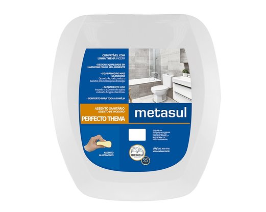 Assento Sanitário Incepa Thema Almofadado Metasul Kit 2un
