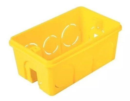 Caixa Plastica Luz 4x2 Tomada Amarela Tramontina 100un