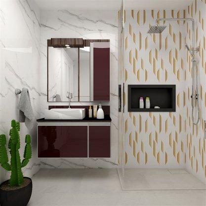 Gabinete Para Banheiro 90cm Massimo Mazzu Completo