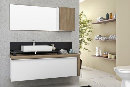 Gabinete Para Banheiro Cristalo 1,20mt Mazzu Completo