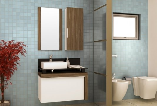 Gabinete Para Banheiro Cristalo 80cm Mazzu Completo