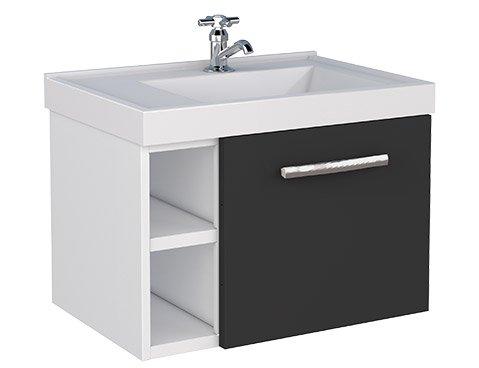 Gabinete Para Banheiro De Aço Preto Amora 50Cm Cozimax