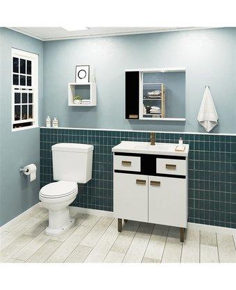 Gabinete Para Banheiro New Fox 80Cm Gaam Completo