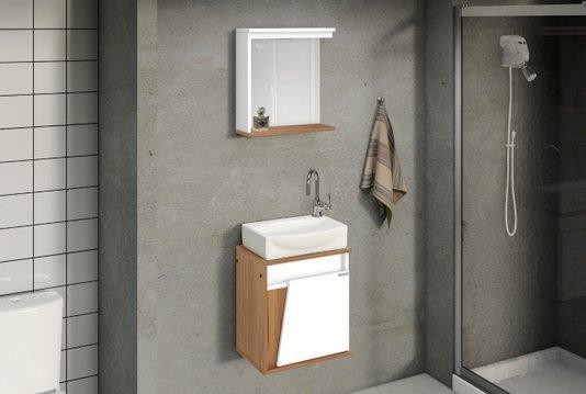 Gabinete Para Banheiro Sicilia 44,5 Cuba de Louça Ajrorato