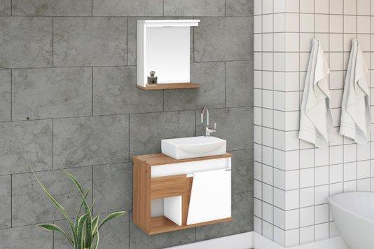 Gabinete Para Banheiro Sicilia 67,5 Cuba de Louça Ajrorato