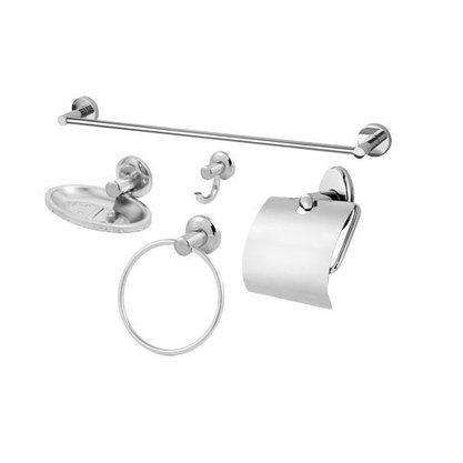 Kit Para Banheiro 5pcs Metal Papeleira Saboneteira Toalheiro