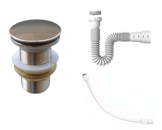 Kit Válvula Click 1 1/4 + Sifão Sanfonado + Engate Flexivel