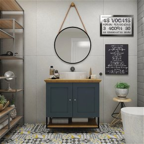 Gabinete Para Banheiro Nordic 80cm C/ Espelho Cinta Redonda Mazzu